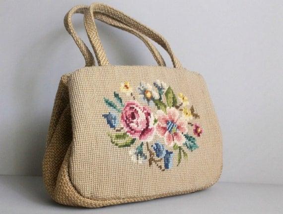 Vintage Handbag / 1950s Handbag / Tapestry Bag