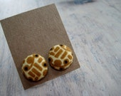 button earrings - graphic goldenrod and wheat with black dots