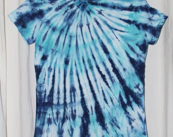 Tie Dye Shirt -X Large-Junior - Short Sleeve -Turquoise and Navy Blue