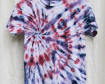 Tie Dye Shirt -Youth Medium- Short Sleeve - Swirl - Red, Blue and Purple