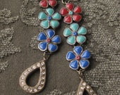Multicolor Flower Red Green Blue Enamel w/ Rhinestone Dangle Earrings Brass