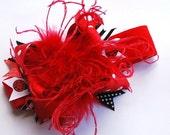 boutique LADYBUG over the top mini headband bow