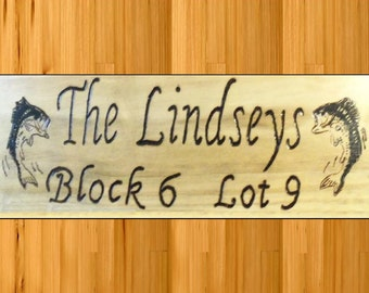 Address signs lodge house office with fish artwork or what you want free personalization