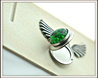 Emerald Green Pinfire Glass Locket Pendant - Brushed Silver Locket - Miasmic Witch's Brew - Snake Skin