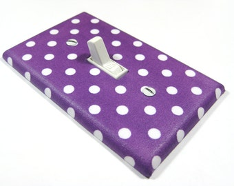 Purple and White Polka Dot Light Switch Cover Nursery Decor Switchplate Teen Girls Bedroom Decoration 1687A
