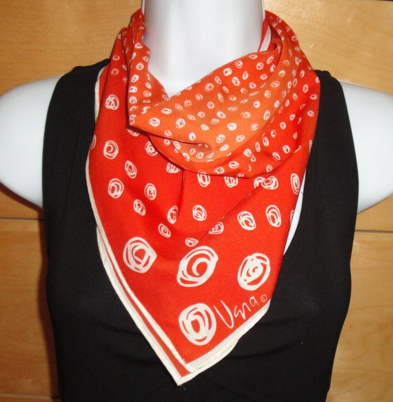 Vintage Small Scarf, Vera Pop Art design square polyester Scarf in orange and white, 1970s era