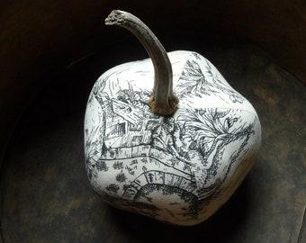 Folk Art Black and White Toile Heirloom Pumpkin