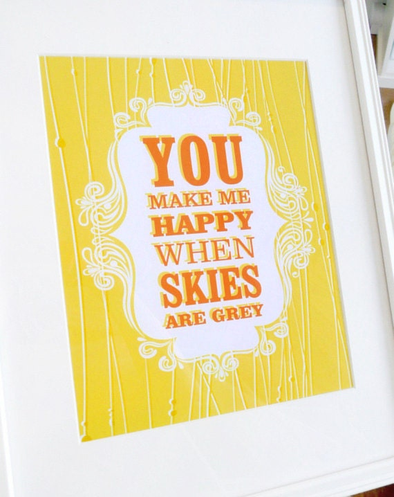 You Are My Sunshine Print, inspirational quote, favorite sayings, poster, modern wall art, happy, happiness, ready to ship, 8x10