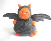 Pincushion Cat with Bat Wings - Black and Orange Cat - cute felt kitty cat collectable - Halloween Cat - Cat lover gift - Bartholomew - MTO