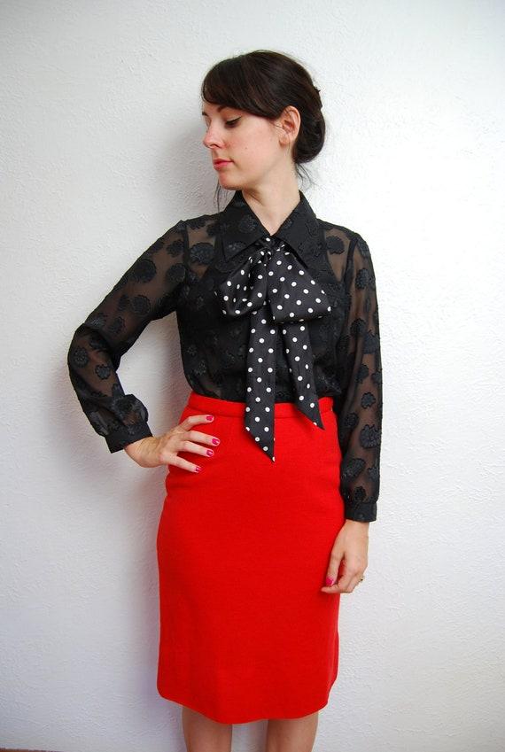 Reserved for Mooncat  vintage 1990s / black / sheer / floral / goth / blouse / S-M