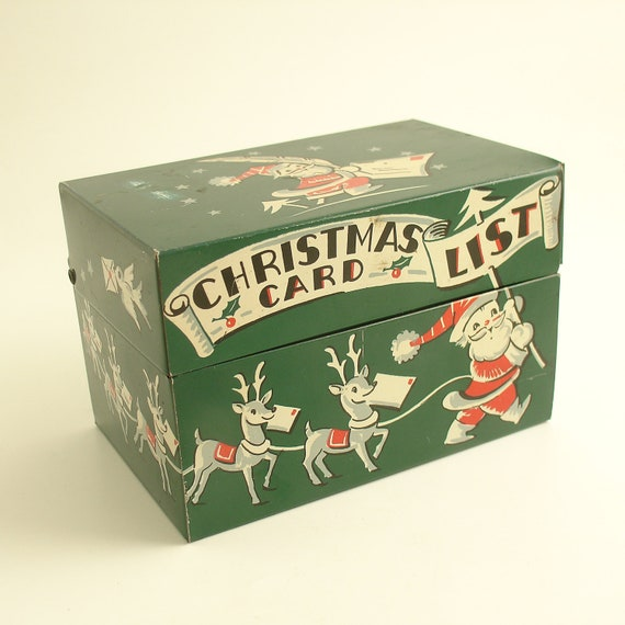 Vintage Christmas Card List Metal File Box Santa & Reindeer