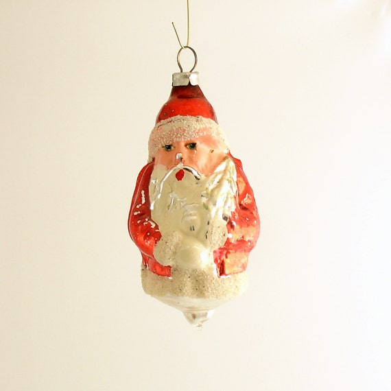 Vintage Glass Christmas Ornament Santa West Germany by ...