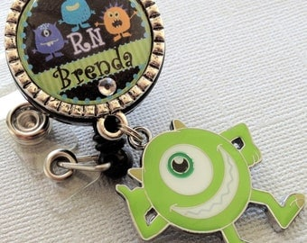 Personalized ID Badge Reel, Pediatric RN Nurse, PICU Rn, monster charm, medical office, peds, coworker gift, student nurse, Icu