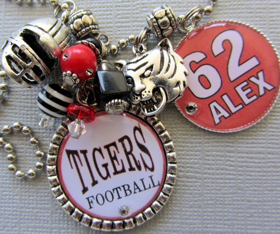Football Mom Personalized Name Silver Pendant - Mascot, Number, Sports Necklace, Baseball Mom, Tigers, Indians, Bobcats, School Colors