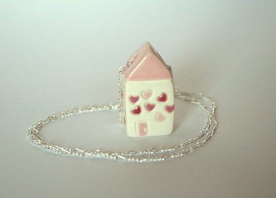 Sterling Necklace  Pink Hearts Love House Ceramic Pendant