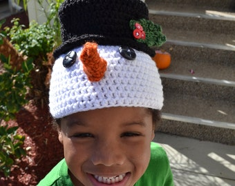 Crochet PATTERN Cheerful snowman with a top hat
