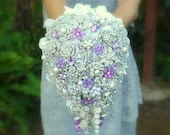 Deposit on lavender cascading jeweled brooch bouquet -- made to order wedding brooch bouquet