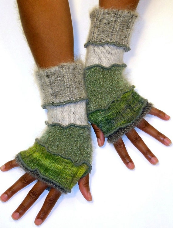 Fingerless Gloves in Grey and Green , (Grey Boucle, Multi- Green, Sage Boucle, Light Grey, Grey Mohair)