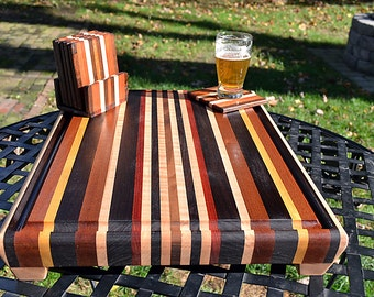 Personalized Laser Engraved Handmade Large Wood Cutting Board with Matching Coasters  - Black Walnut & Bloodwood