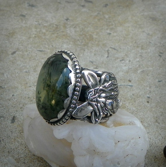 Airmid Wild Growth Prehnite Cabochon set in Sterling silver Fairy and nature sprite Ring