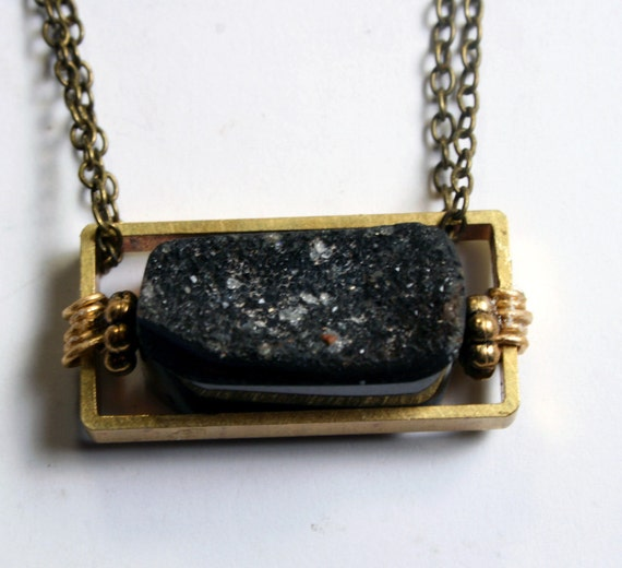 Druzy Necklace - Geometric Jewelry, extra long length drusy necklace