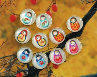 10pcs assorted russian dolls girls clear glass dome cabochons 12mm (12-0197)