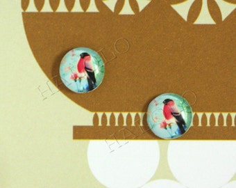 Sale - 10pcs handmade red bird round clear glass dome cabochons 12mm (12-0283)