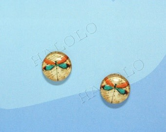 Sale - 10pcs handmade dragonfly clear glass dome cabochons 12mm (12-0276)