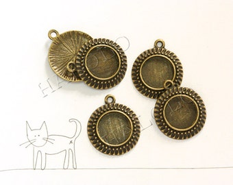 10 pcs antique bronze round base - for 12mm round cabochons. BN222