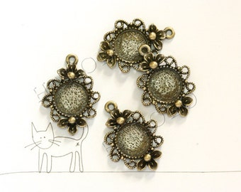 8 pcs antique bronze round base - for 12mm round cabochons. BN391