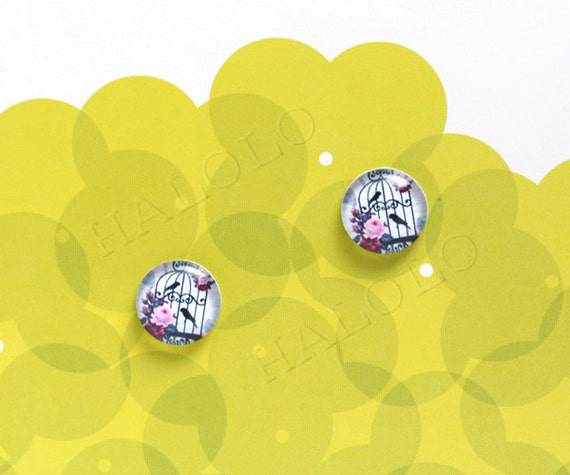 Sale - 10pcs handmade black bird cage birdcage with birds and flowers round clear glass dome cabochons 12mm (12-0086)