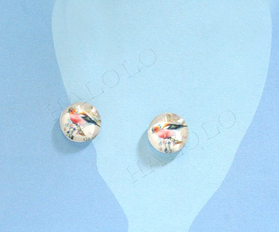 10pcs handmade pink bird round clear glass dome cabochons 12mm (12-0400)