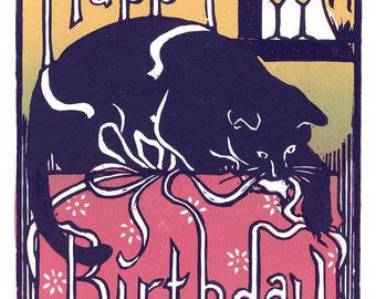 Happy Birthday Cat Block Print Card