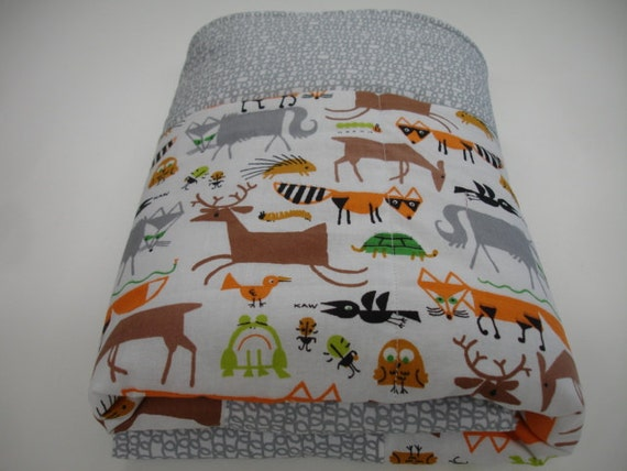 Rustic Forest Minky  Baby Crib  Blanket 32 x 50 MADE TO ORDER