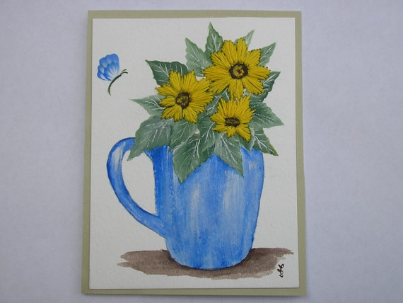 Yellow Sunflowers Card Embroidered Sunflowers in Pitcher Card