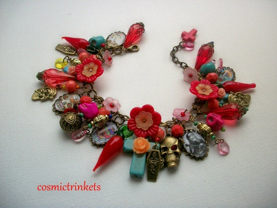 Day of the Dead Crosses and Skulls Picture Charm Bracelet