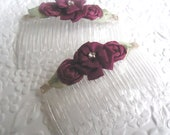 2 wine hair combs - ribbon roses with sparkly accent - hair accessory all hair types