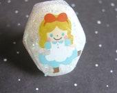 Alice In Wonderland Dancing Resin Ring