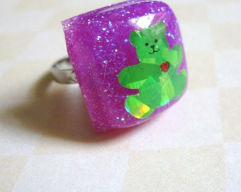 Green Bear Resin Ring