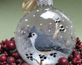 Personalize -Tufted Titmouse Ornament - Winter Bird Collection