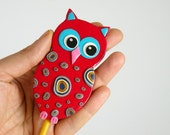 Red Owl Garden Stake - Ornament, Table Decorations for Birthday or Shower