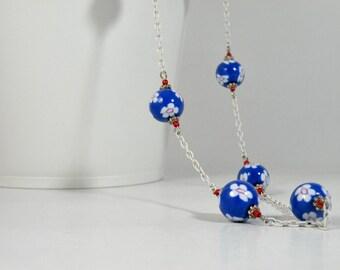 Beaded necklace, Little Blue Flowers