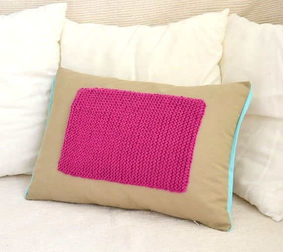 Beige cotton lumbar pillow cover with wool appliqued