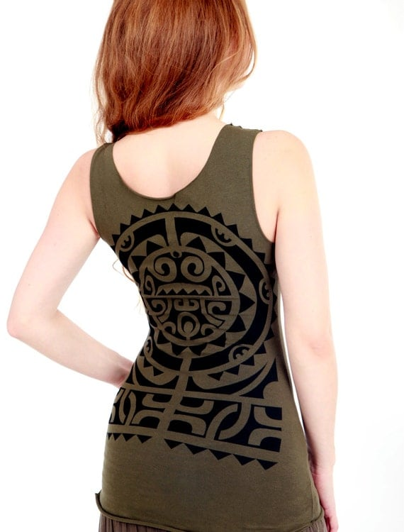 Olive green tank top, Tribal motif graphic hand stenciled on the back