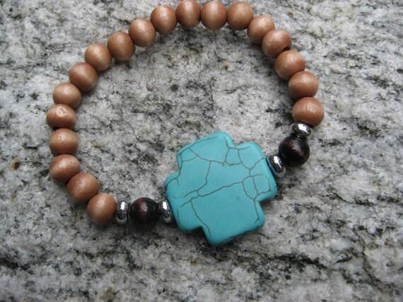 Stretch Bracelet-Wood Beads and Howlite Cross