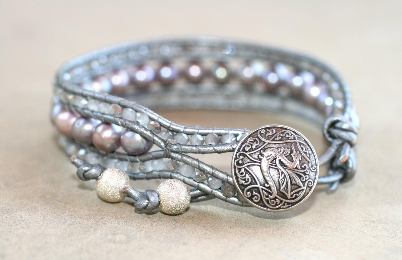silver freshwater pearl leather wrap cuff handmade bracelet. Black Bedroom Furniture Sets. Home Design Ideas