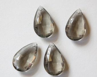 Vintage German Plastic Black Diamond Gray Faceted Pendants pnd094C