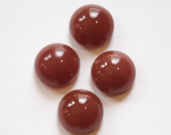 Vintage Root Beer Brown Domed Glass Cabochons 15mm cab705BB