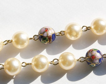 Vintage Blue Cloisonne and Pearl Beaded Chain 10mm chn071D