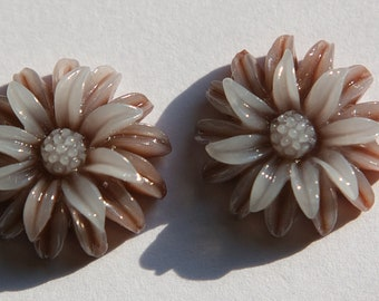 Brown and White Double Layered Acrylic Flower Cabochon 19mm (4) cab850E